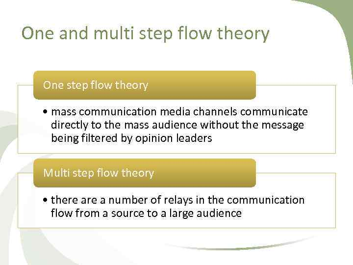 One and multi step flow theory One step flow theory • mass communication media