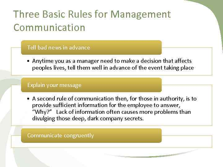 Three Basic Rules for Management Communication Tell bad news in advance • Anytime you