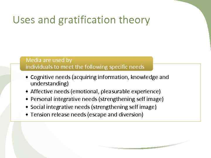 Uses and gratification theory Media are used by individuals to meet the following specific