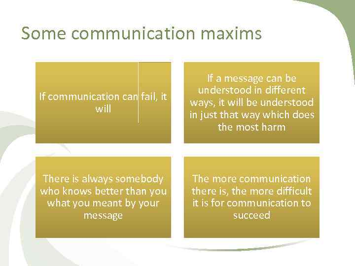 Some communication maxims If communication can fail, it will If a message can be