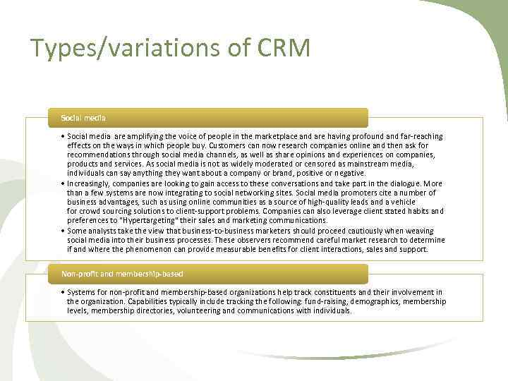 Types/variations of CRM Social media • Social media are amplifying the voice of people