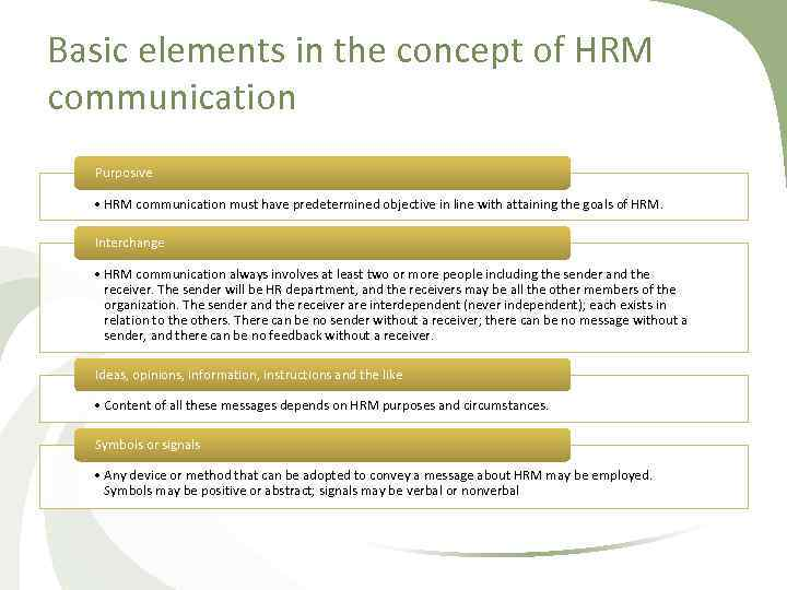 Basic elements in the concept of HRM communication Purposive • HRM communication must have