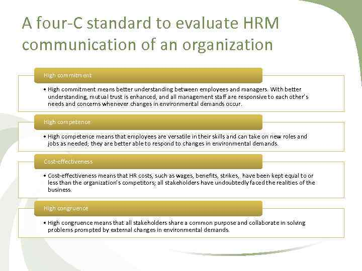 A four C standard to evaluate HRM communication of an organization High commitment •
