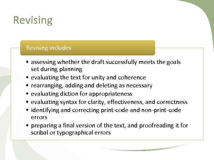 Revising includes • assessing whether the draft successfully meets the goals set during planning