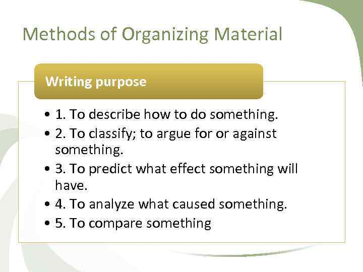 Methods of Organizing Material Writing purpose • 1. To describe how to do something.