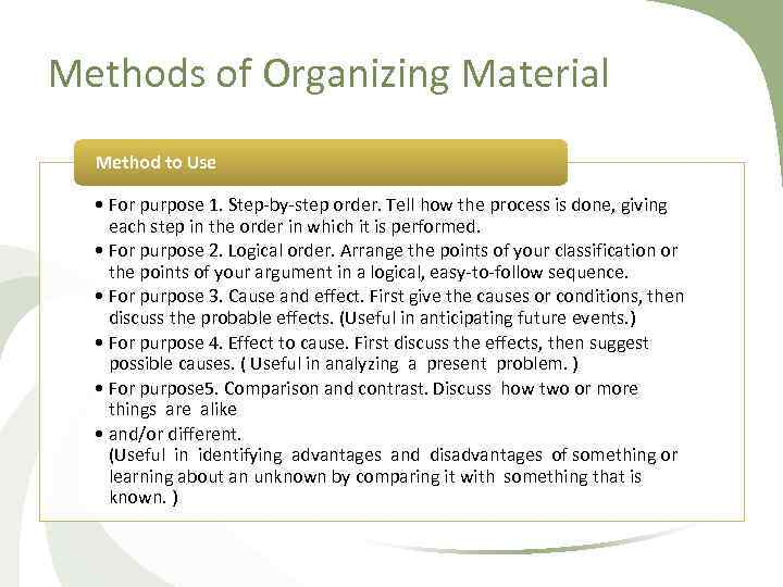 Methods of Organizing Material Method to Use • For purpose 1. Step by step