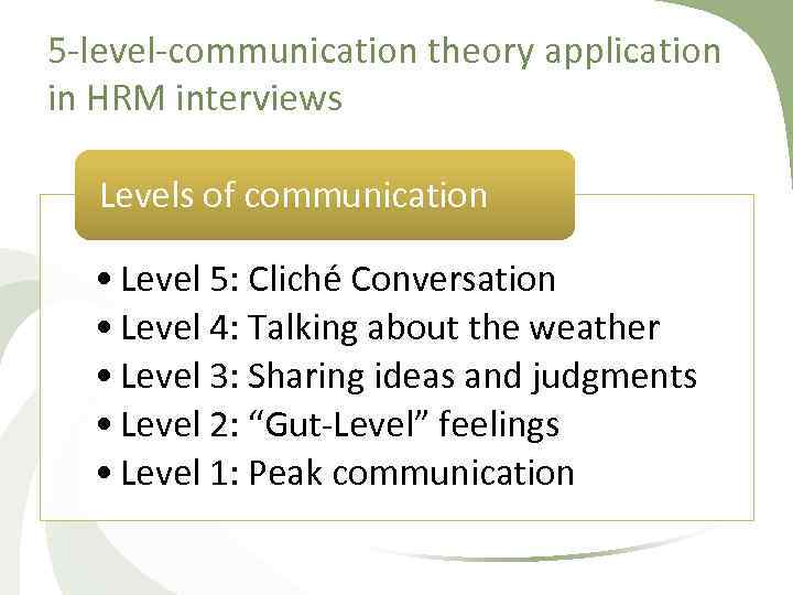 5 level communication theory application in HRM interviews Levels of communication • Level 5:
