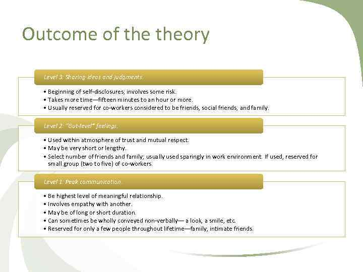 Outcome of theory Level 3: Sharing ideas and judgments. • Beginning of self disclosures;