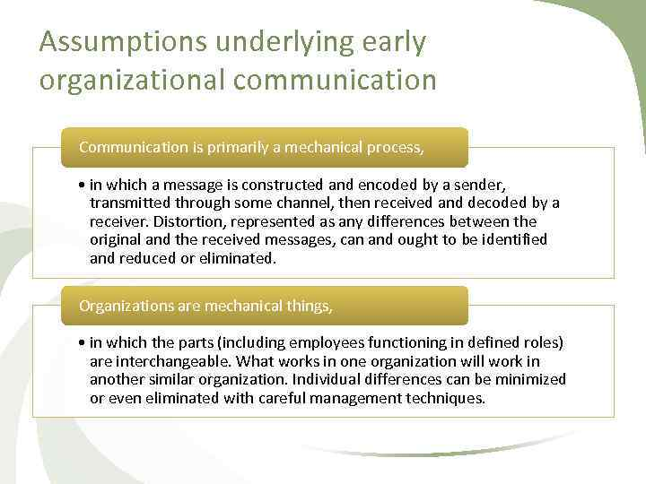 Assumptions underlying early organizational communication Communication is primarily a mechanical process, • in which