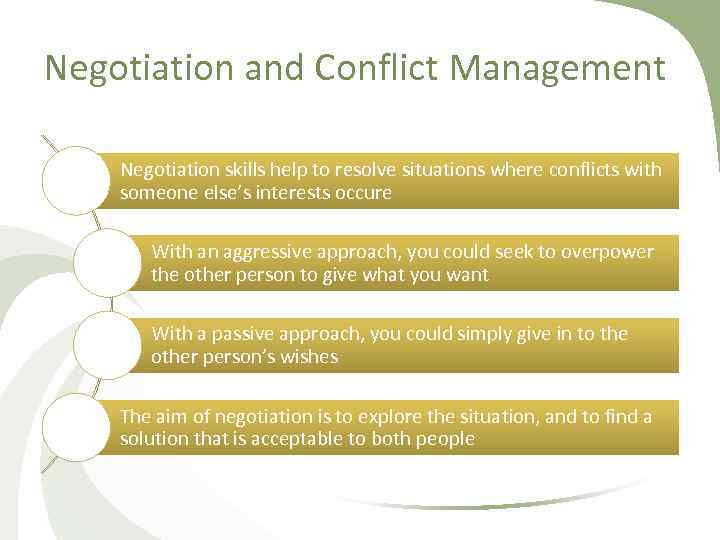 Negotiation and Conflict Management Negotiation skills help to resolve situations where conflicts with someone