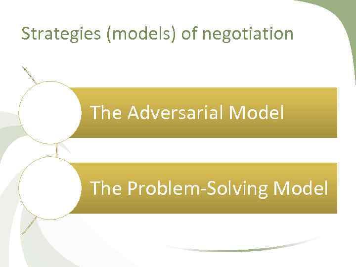 Strategies (models) of negotiation The Adversarial Model The Problem Solving Model