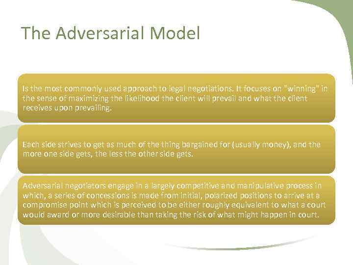 The Adversarial Model Is the most commonly used approach to legal negotiations. It focuses