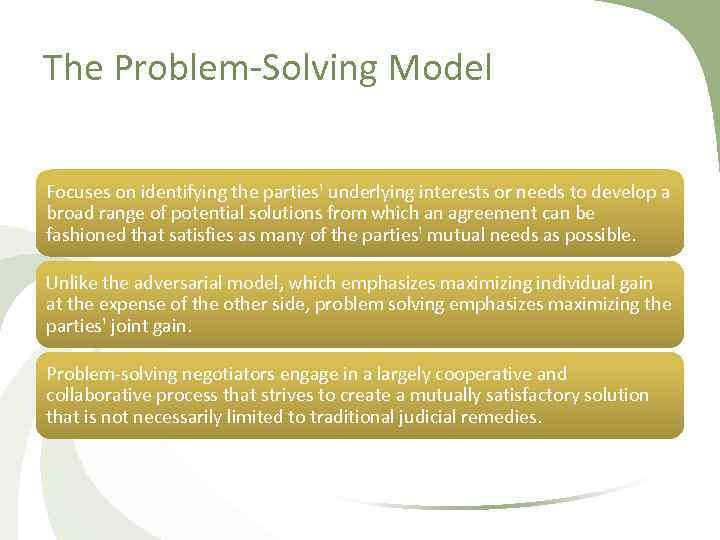 The Problem Solving Model Focuses on identifying the parties' underlying interests or needs to