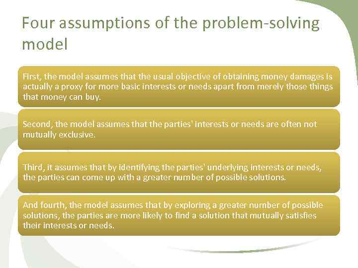 Four assumptions of the problem solving model First, the model assumes that the usual