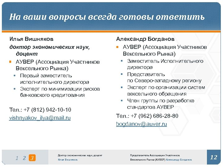 На ваши вопросы всегда готовы ответить Илья Вишняков доктор экономических наук, доцент АУВЕР (Ассоциация