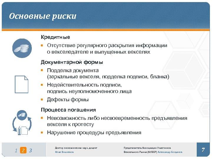 Основные риски Кредитные Отсутствие регулярного раскрытия информации о векселедателе и выпущенных векселях Документарной формы