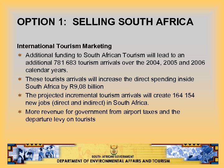 OPTION 1: SELLING SOUTH AFRICA International Tourism Marketing ¬ Additional funding to South African
