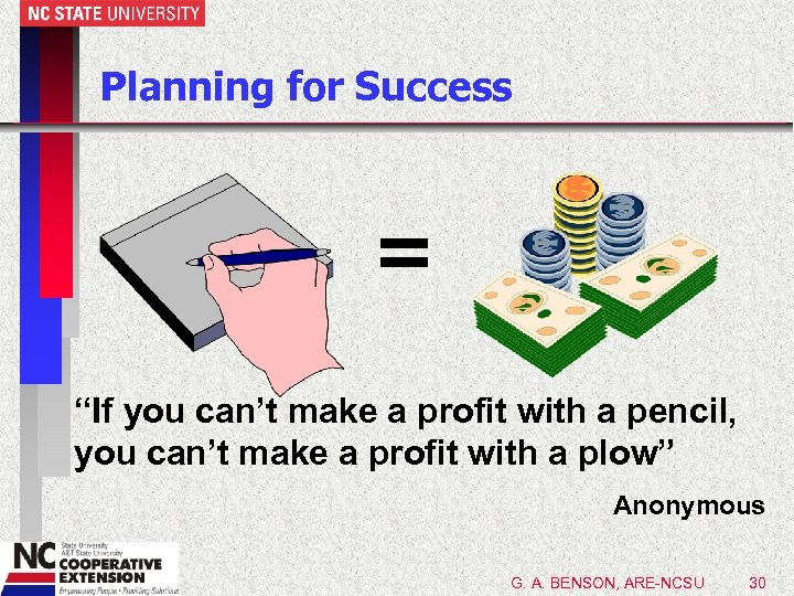 "Planning for Success = ""If you can't make a profit with a pencil, you"