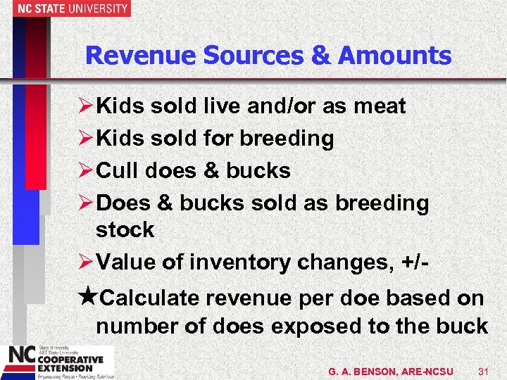 Revenue Sources & Amounts Ø Kids sold live and/or as meat Ø Kids sold
