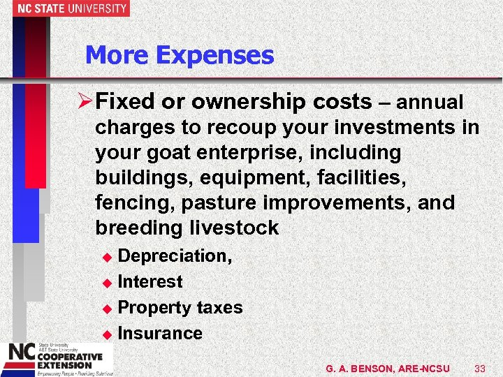 More Expenses ØFixed or ownership costs – annual charges to recoup your investments in
