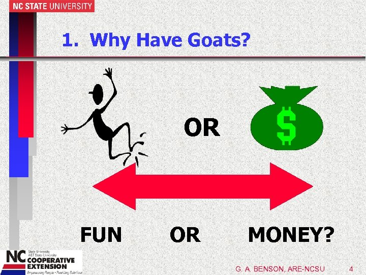1. Why Have Goats? OR FUN OR MONEY? G. A. BENSON, ARE-NCSU 4