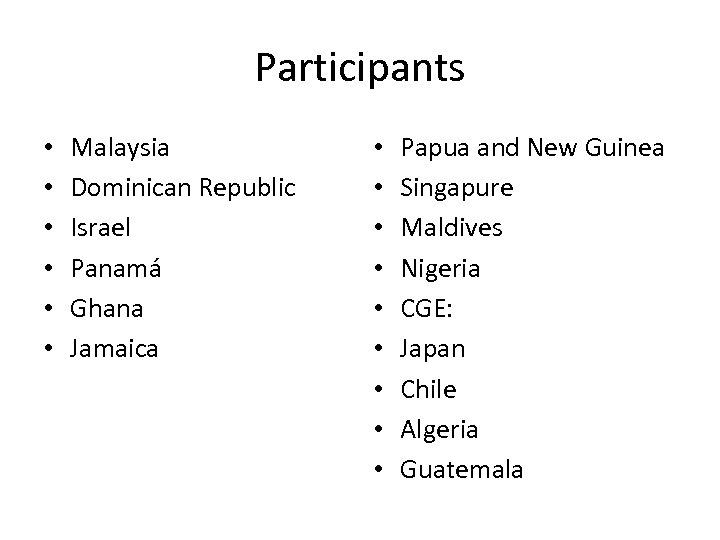 Participants • • • Malaysia Dominican Republic Israel Panamá Ghana Jamaica • • •