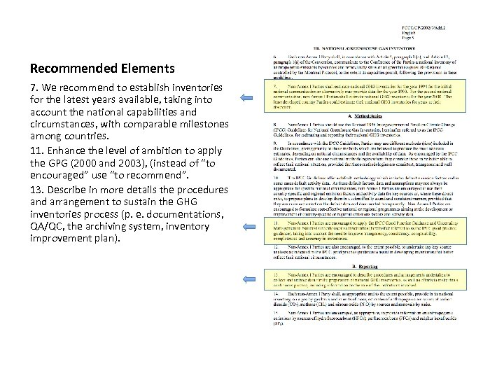 Recommended Elements 7. We recommend to establish inventories for the latest years available, taking