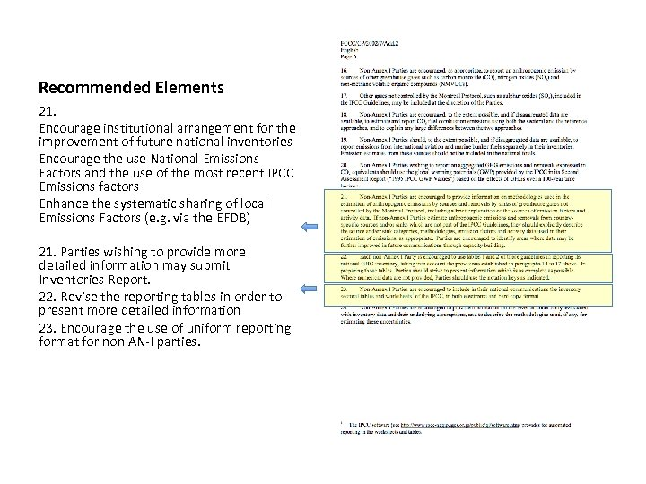 Recommended Elements 21. Encourage institutional arrangement for the improvement of future national inventories Encourage