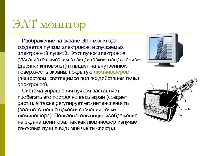 ЭЛТ монитор Изображение на экране ЭЛТ монитора создается пучком электронов, испускаемых электронной пушкой. Этот