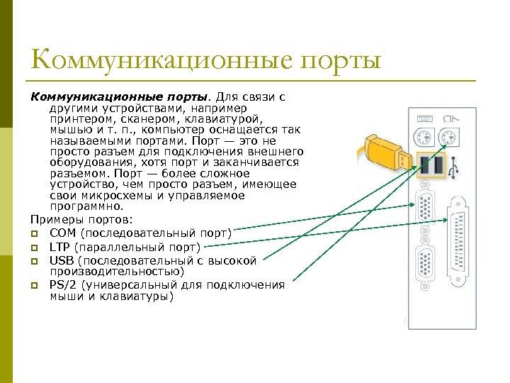 Коммуникационные порты. Для связи с другими устройствами, например принтером, сканером, клавиатурой, мышью и т.