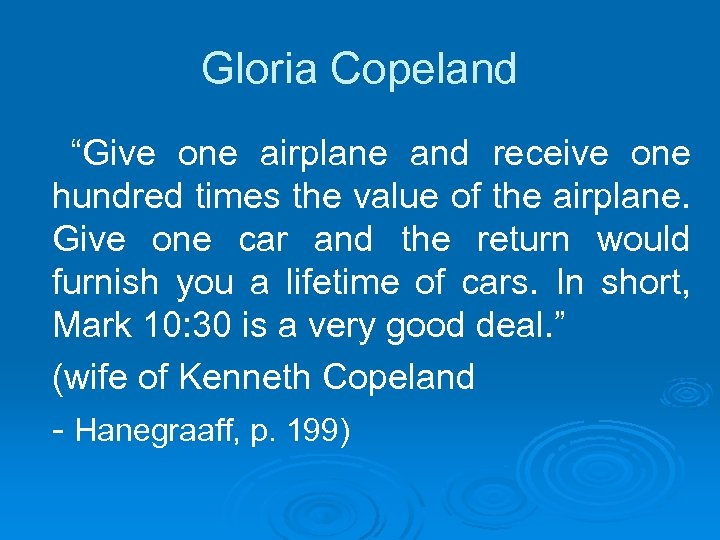"""Gloria Copeland """"Give one airplane and receive one hundred times the value of the"""
