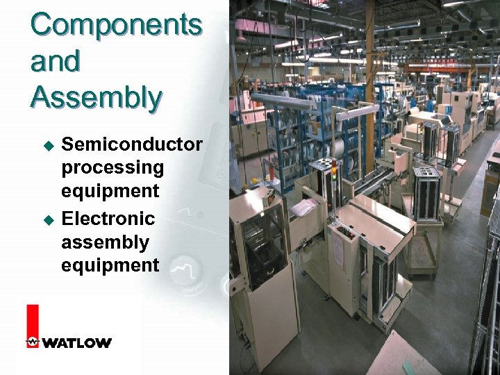 Components and Assembly u u Semiconductor processing equipment Electronic assembly equipment 10