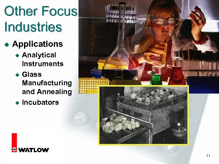 Other Focus Industries u Applications Analytical Instruments u Glass Manufacturing and Annealing u Incubators