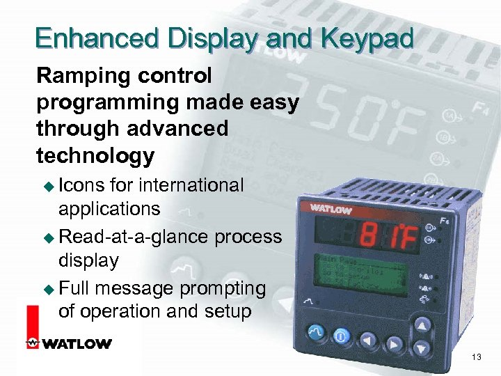 Enhanced Display and Keypad Ramping control programming made easy through advanced technology u Icons