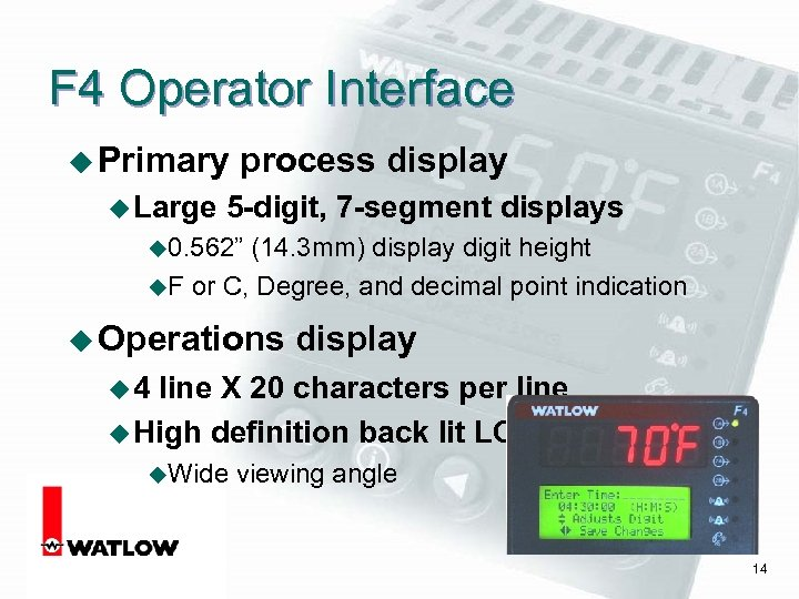 F 4 Operator Interface u Primary u Large process display 5 -digit, 7 -segment