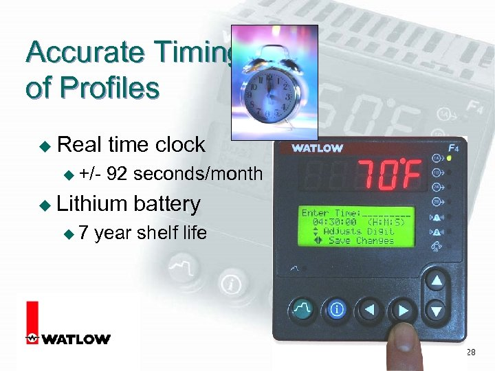Accurate Timing of Profiles u Real u +/- time clock 92 seconds/month u Lithium