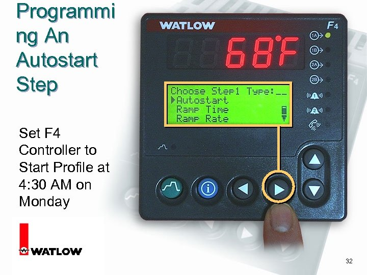 Programmi ng An Autostart Step Set F 4 Controller to Start Profile at 4: