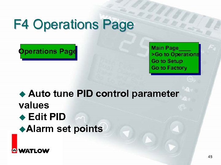 F 4 Operations Page u Auto Main Page____ >Go to Operations Go to Setup