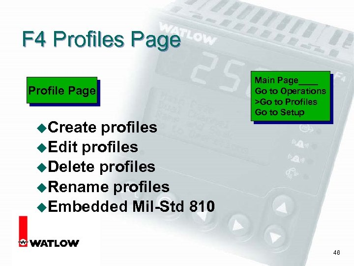 F 4 Profiles Page Profile Page Main Page____ Go to Operations >Go to Profiles