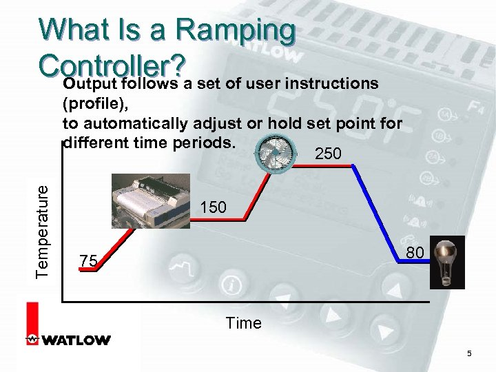 What Is a Ramping Controller? a set of user instructions Output follows Temperature (profile),