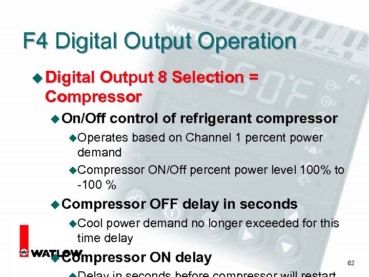 F 4 Digital Output Operation u Digital Output 8 Selection = Compressor u On/Off