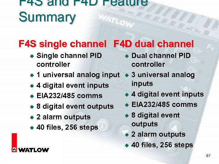 F 4 S and F 4 D Feature Summary F 4 S single channel
