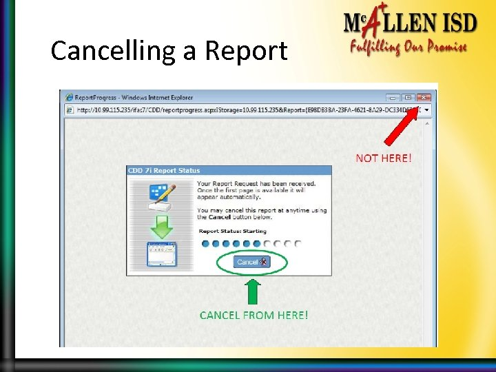 Cancelling a Report