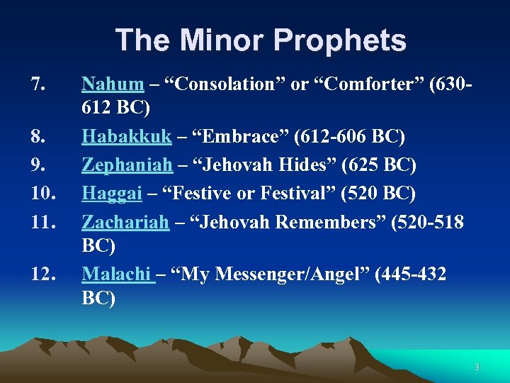 "The Minor Prophets 7. 8. 9. 10. 11. 12. Nahum – ""Consolation"" or ""Comforter"""