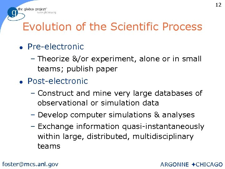 12 Evolution of the Scientific Process l Pre-electronic – Theorize &/or experiment, alone or