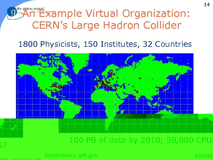 An Example Virtual Organization: CERN's Large Hadron Collider 14 1800 Physicists, 150 Institutes, 32