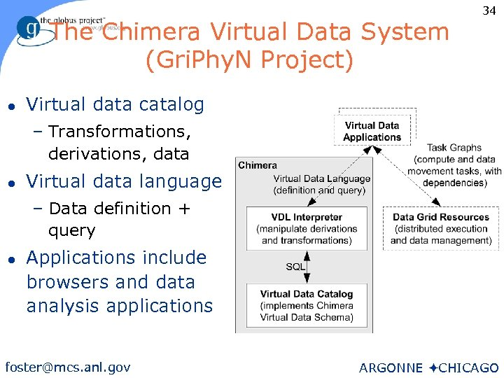 The Chimera Virtual Data System (Gri. Phy. N Project) l 34 Virtual data catalog