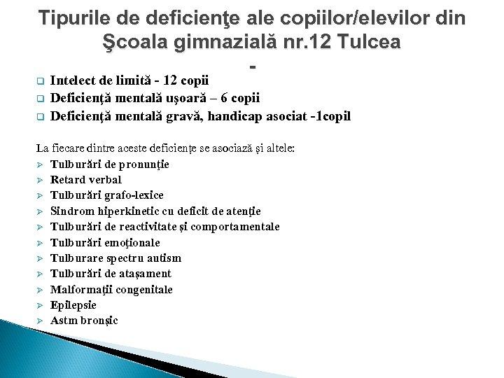 Tipurile de deficienţe ale copiilor/elevilor din Şcoala gimnazială nr. 12 Tulcea - q q