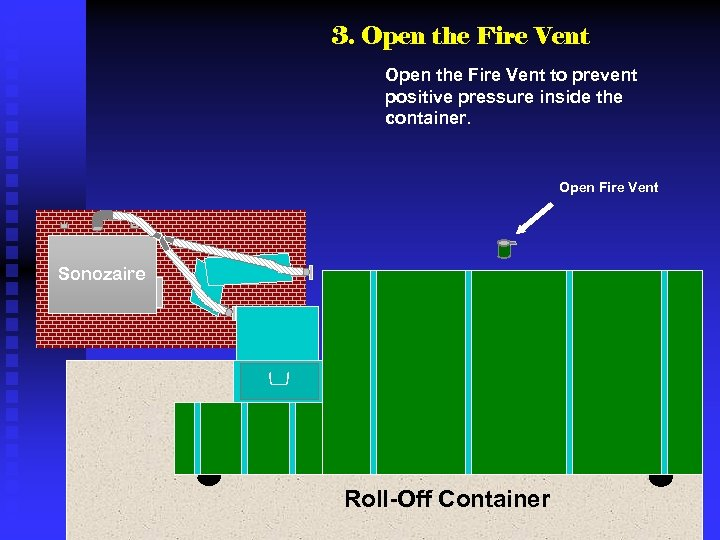 3. Open the Fire Vent to prevent positive pressure inside the container. Open Fire