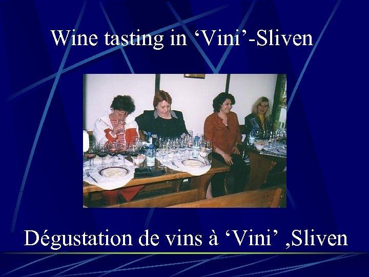 Wine tasting in 'Vini'-Sliven Dégustation de vins à 'Vini' , Sliven